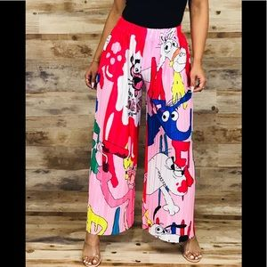 Pink panther cartoon pleated pants
